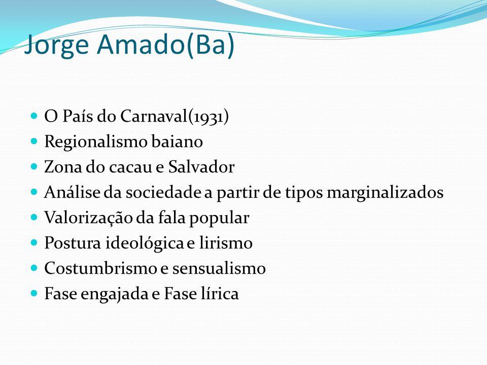 Jorge Amado(Ba) O País do Carnaval(1931) Regionalismo baiano