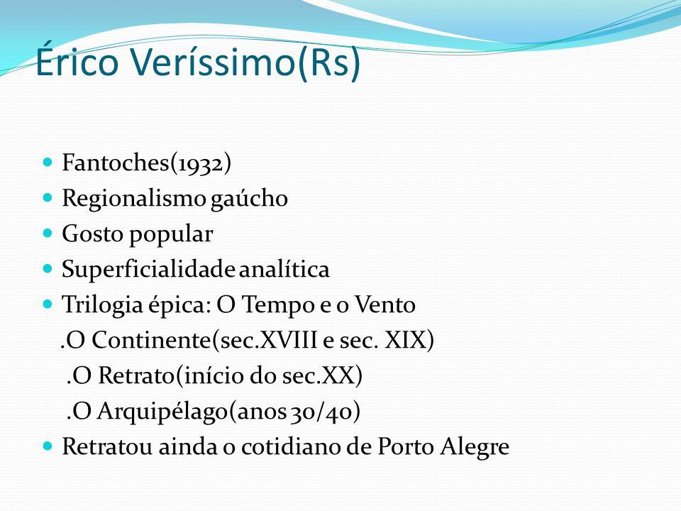 Érico Veríssimo(Rs) Fantoches(1932) Regionalismo gaúcho Gosto popular