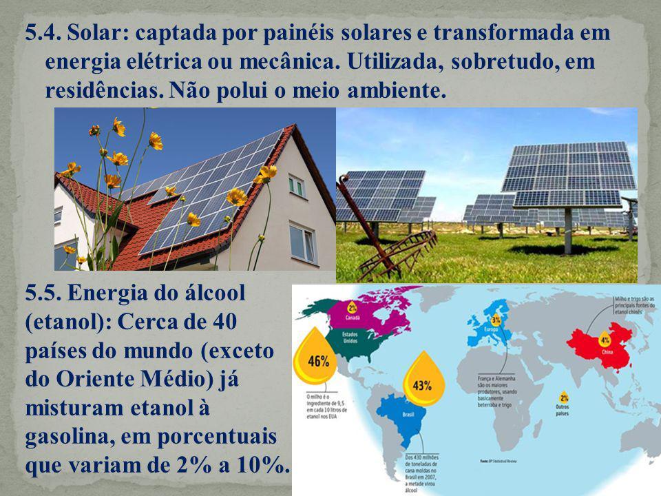 5.4. Solar: captada por painéis solares e transformada em energia elétrica ou mecânica. Utilizada, sobretudo, em residências. Não polui o meio ambiente.