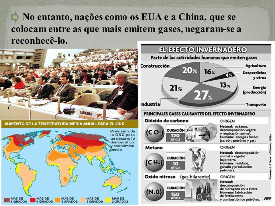 No entanto, nações como os EUA e a China, que se colocam entre as que mais emitem gases, negaram-se a reconhecê-lo.