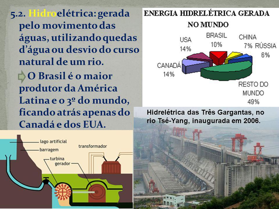 5.2. Hidroelétrica: gerada pelo movimento das águas, utilizando quedas d'água ou desvio do curso natural de um rio. O Brasil é o maior produtor da América Latina e o 3º do mundo, ficando atrás apenas do Canadá e dos EUA.