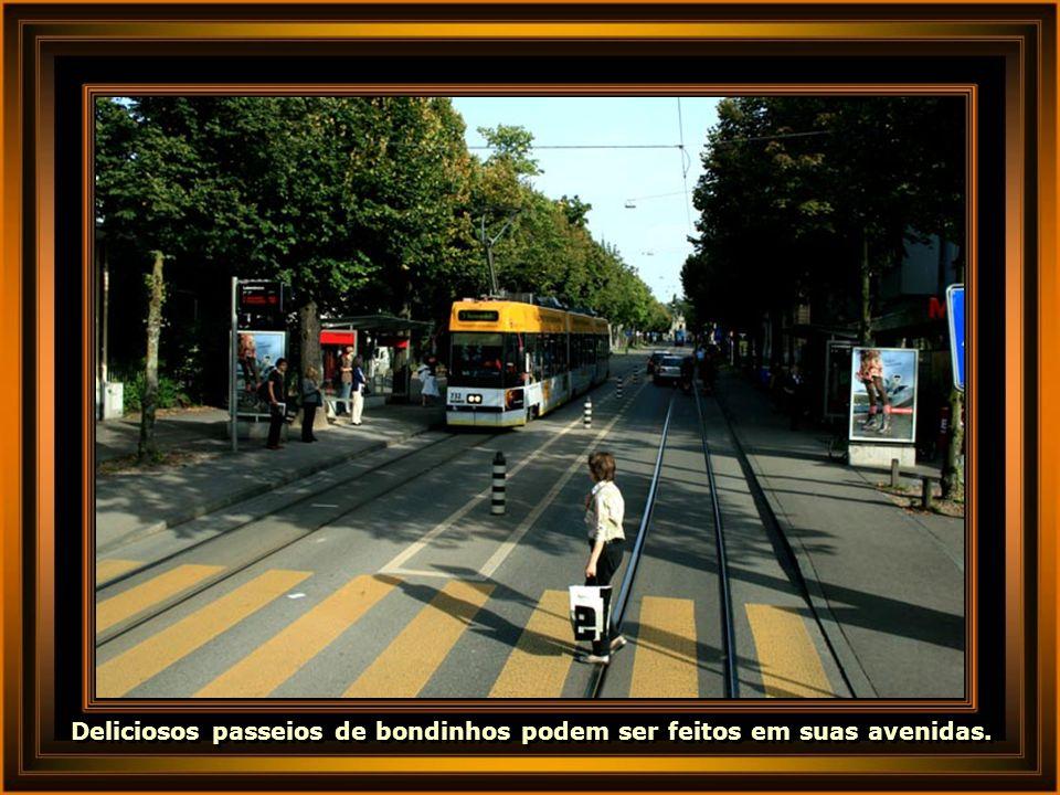 Deliciosos passeios de bondinhos podem ser feitos em suas avenidas.
