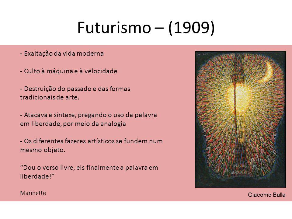 Futurismo – (1909) - Exaltação da vida moderna