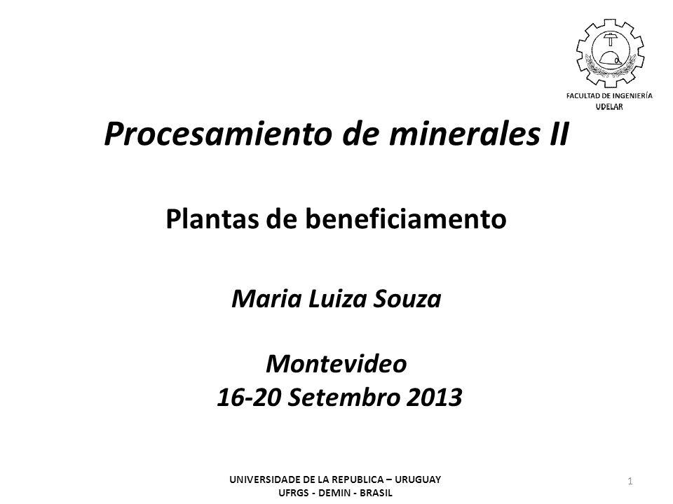 Procesamiento de minerales II Plantas de beneficiamento