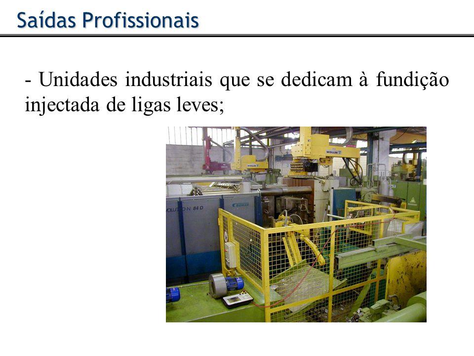 Saídas Profissionais - Unidades industriais que se dedicam à fundição injectada de ligas leves;