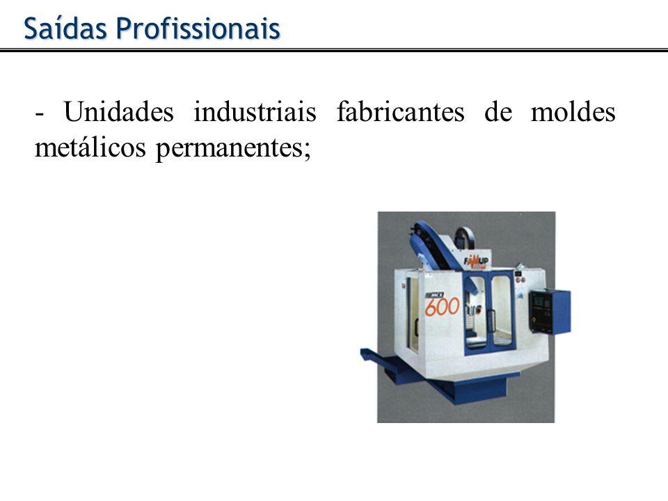Saídas Profissionais - Unidades industriais fabricantes de moldes metálicos permanentes;