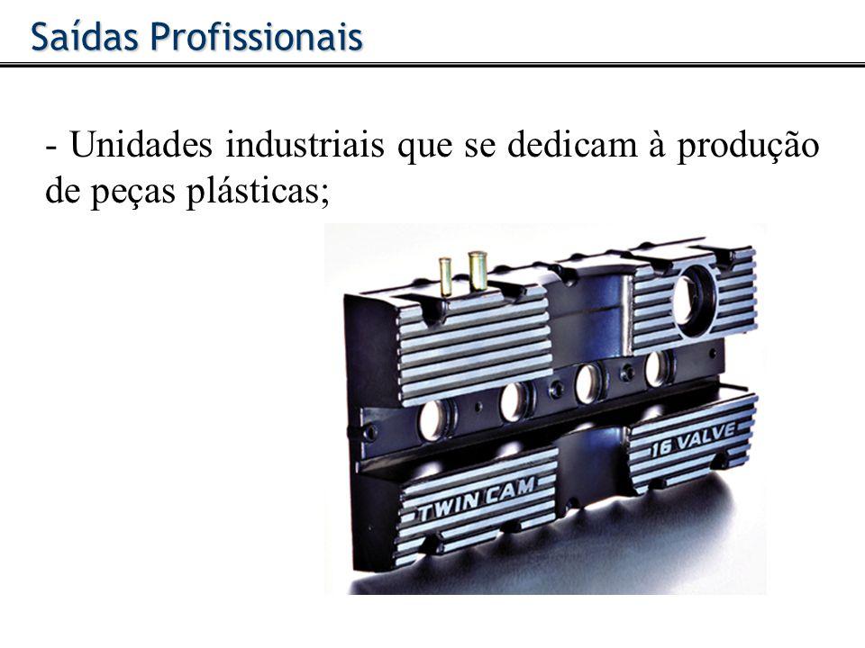 Saídas Profissionais - Unidades industriais que se dedicam à produção de peças plásticas;