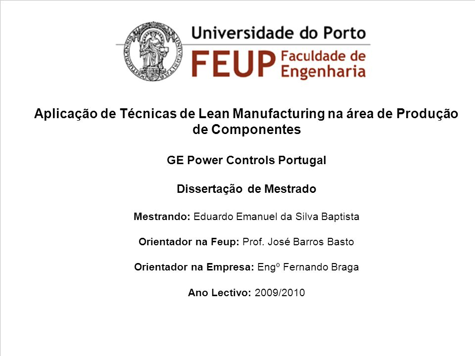 GE Power Controls Portugal Dissertação de Mestrado