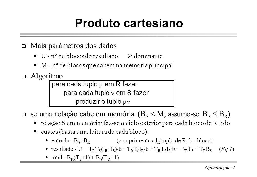 Produto cartesiano Mais parâmetros dos dados Algoritmo