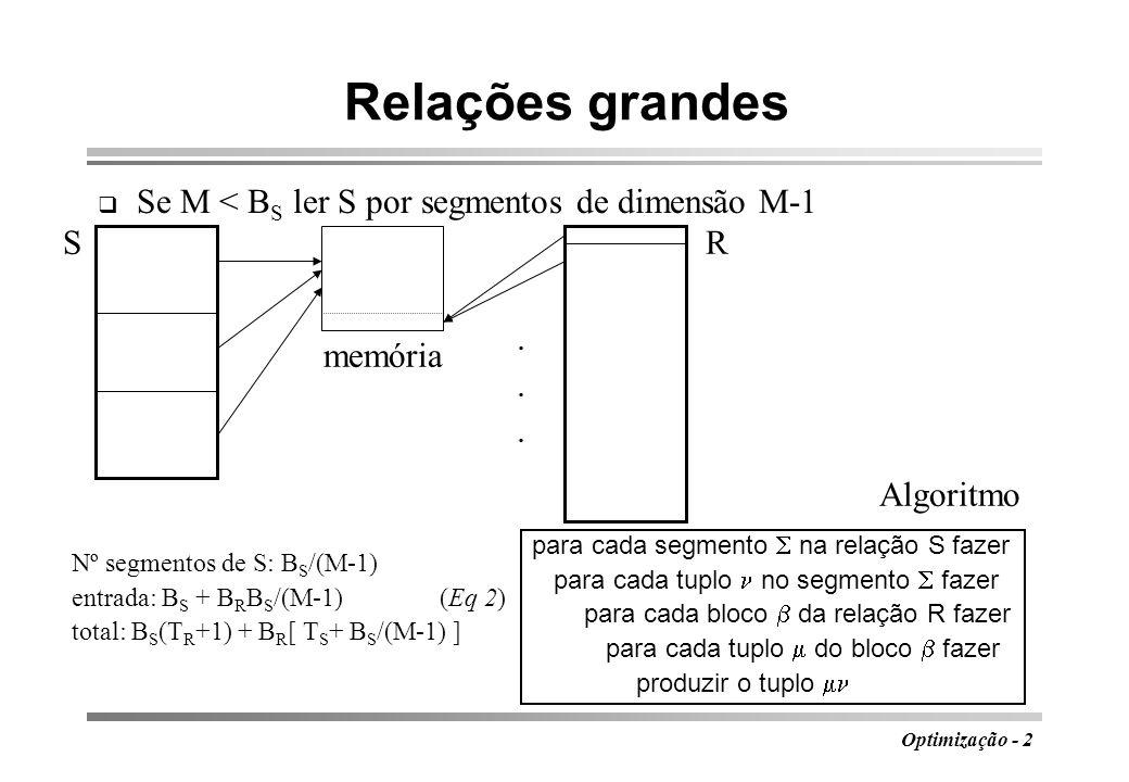 Relações grandes Se M < BS ler S por segmentos de dimensão M-1 S R