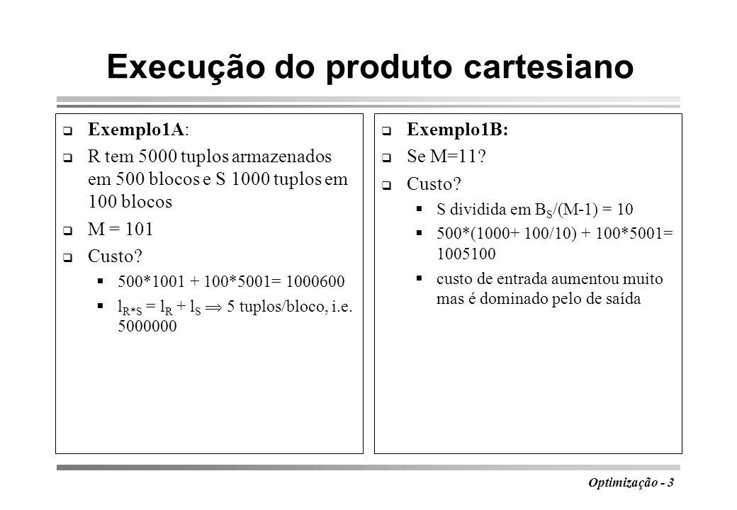 Execução do produto cartesiano