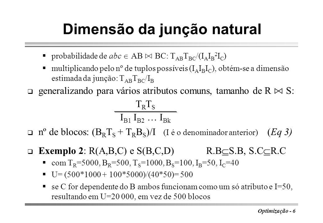 Dimensão da junção natural