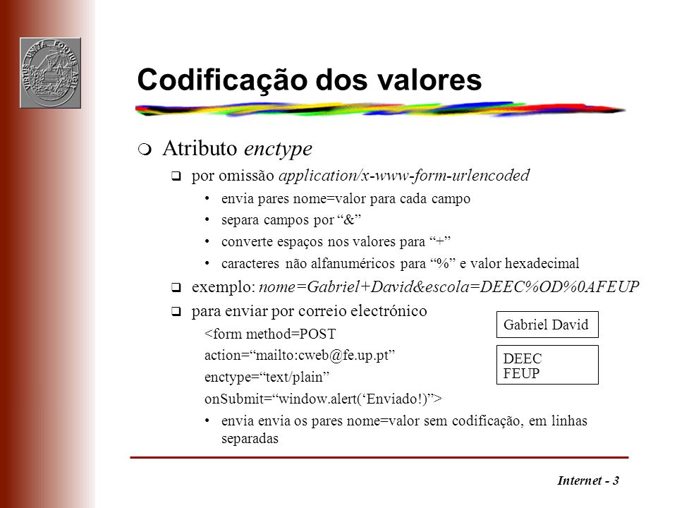 Codificação dos valores