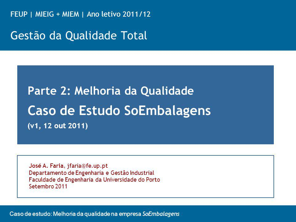 FEUP | MIEIG + MIEM | Ano letivo 2011/12 Gestão da Qualidade Total