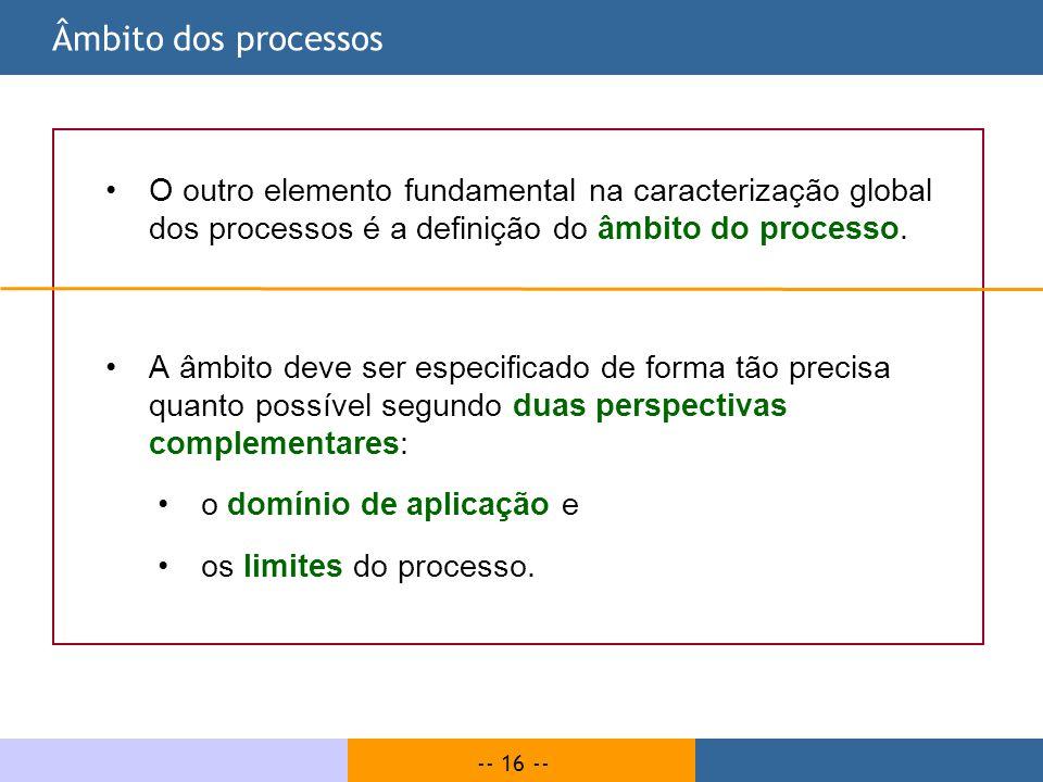 Âmbito dos processos O outro elemento fundamental na caracterização global dos processos é a definição do âmbito do processo.