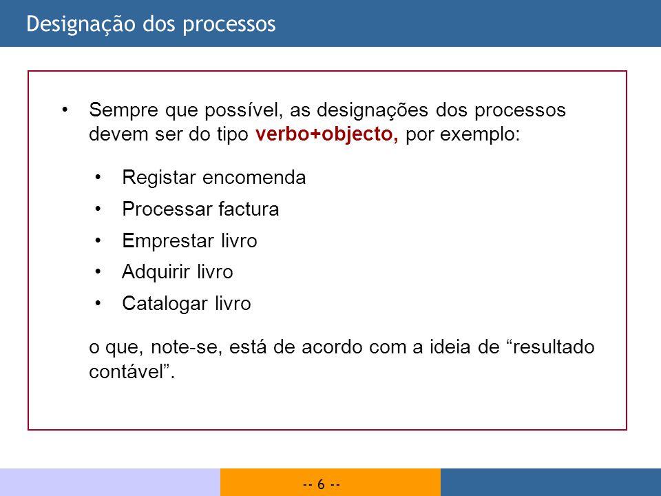 Designação dos processos