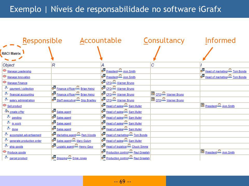 Exemplo | Níveis de responsabilidade no software iGrafx
