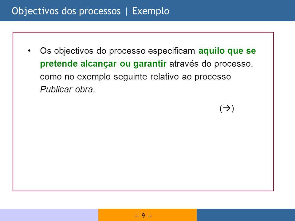 Objectivos dos processos | Exemplo