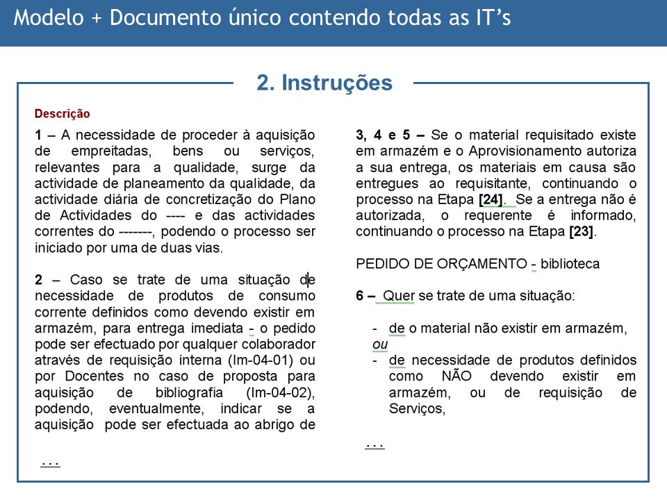 Modelo + Documento único contendo todas as IT's