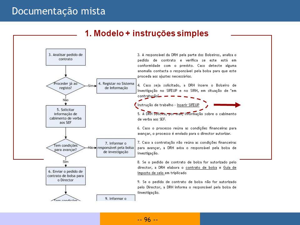 Documentação mista 1. Modelo + instruções simples