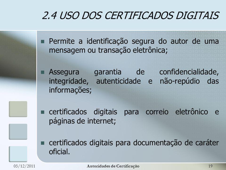 2.4 USO DOS CERTIFICADOS DIGITAIS