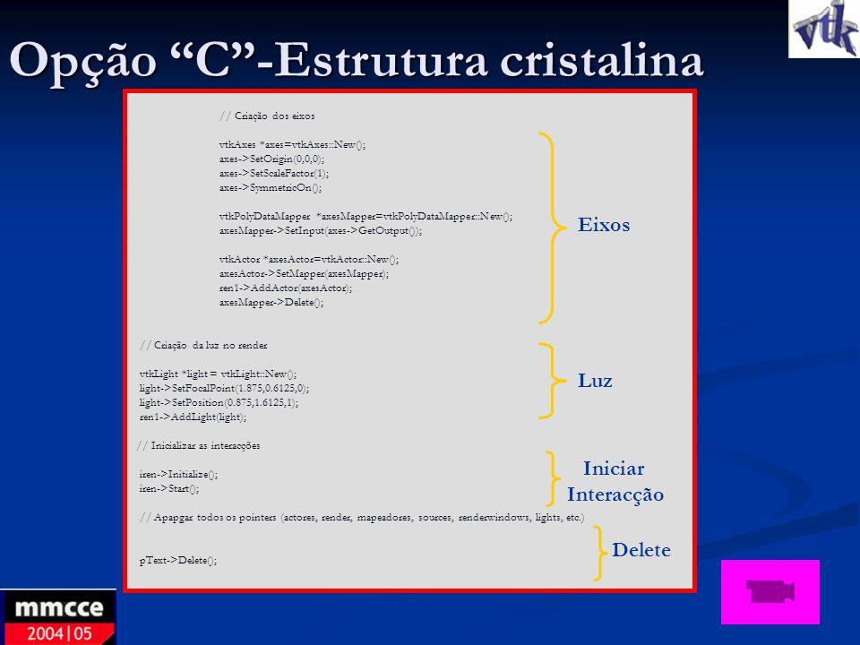 Opção C -Estrutura cristalina