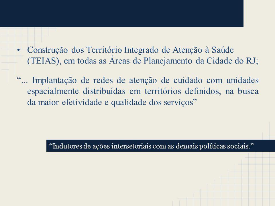 Construção dos Território Integrado de Atenção à Saúde (TEIAS), em todas as Áreas de Planejamento da Cidade do RJ;