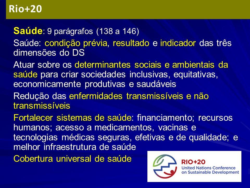 Rio+20 Saúde: 9 parágrafos (138 a 146)