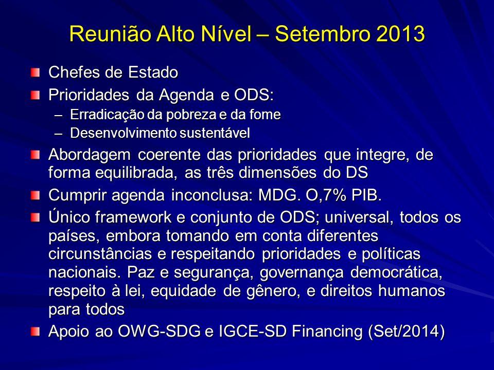 Reunião Alto Nível – Setembro 2013