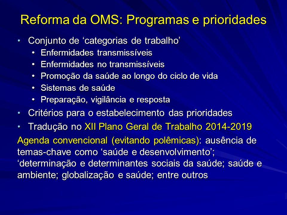 Reforma da OMS: Programas e prioridades