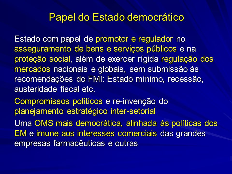 Papel do Estado democrático