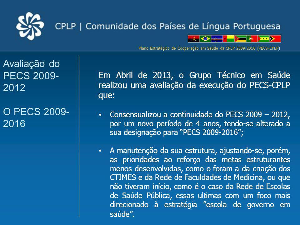 Avaliação do PECS 2009-2012 O PECS 2009-2016