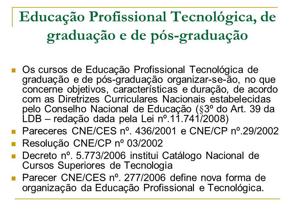 Educação Profissional Tecnológica, de graduação e de pós-graduação