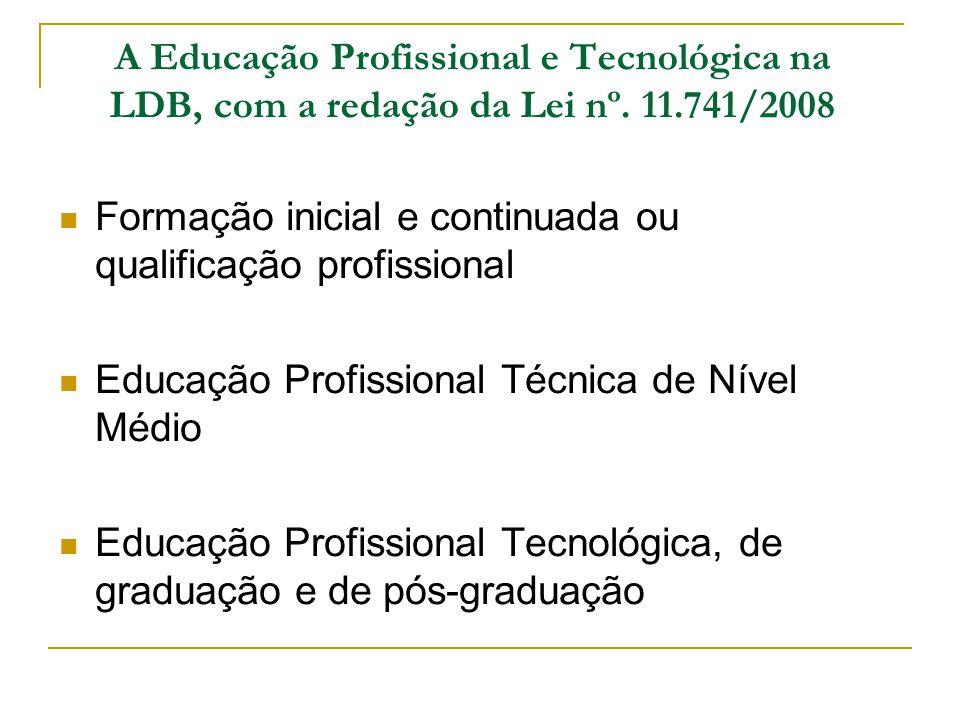 A Educação Profissional e Tecnológica na LDB, com a redação da Lei nº
