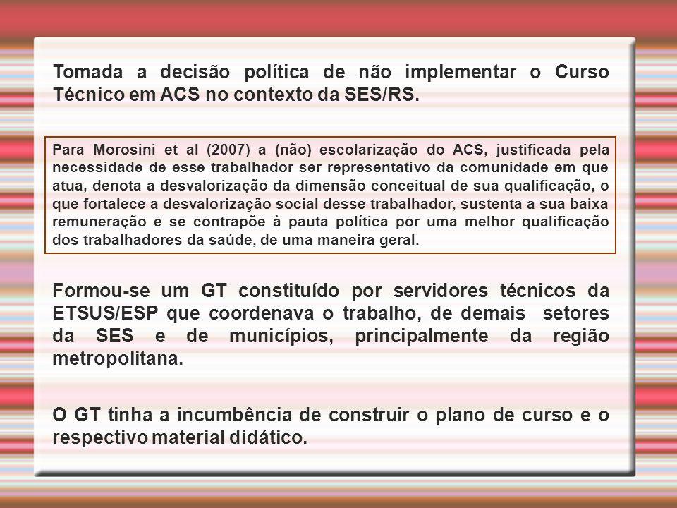 Tomada a decisão política de não implementar o Curso Técnico em ACS no contexto da SES/RS.