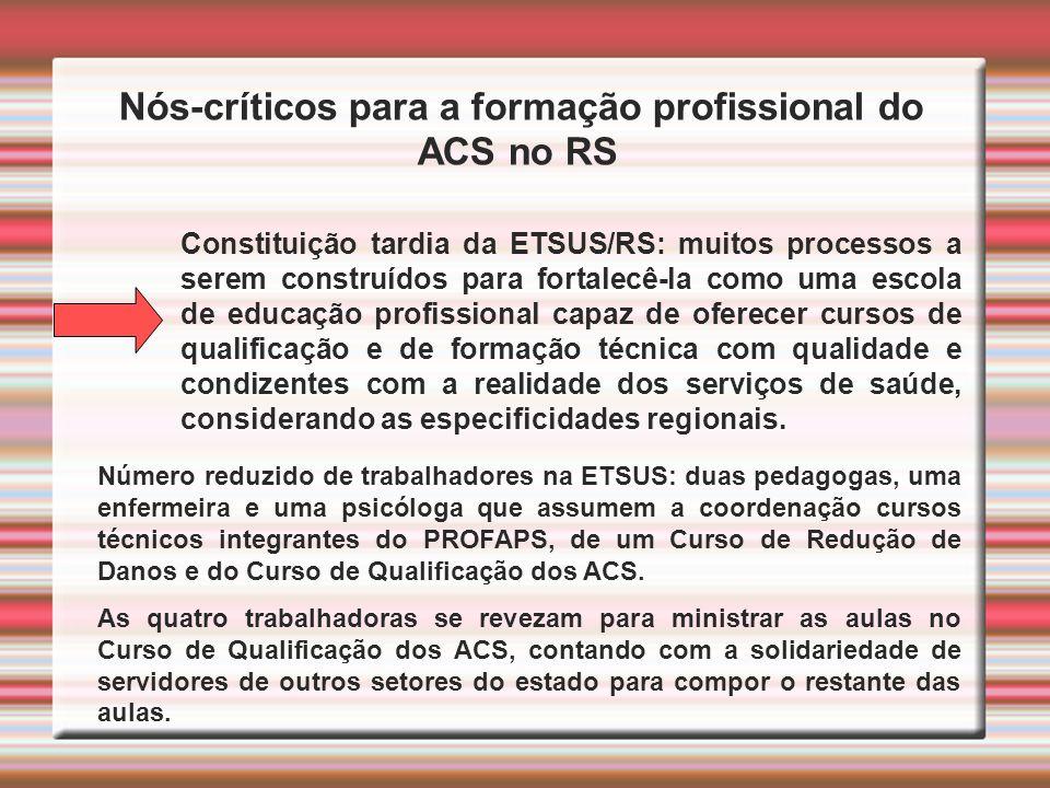 Nós-críticos para a formação profissional do ACS no RS