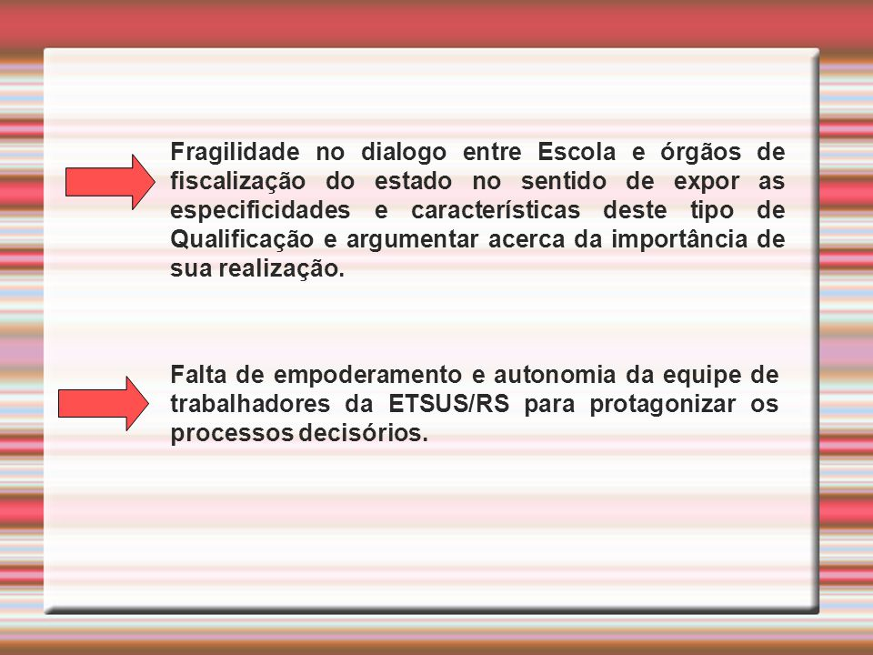 Fragilidade no dialogo entre Escola e órgãos de fiscalização do estado no sentido de expor as especificidades e características deste tipo de Qualificação e argumentar acerca da importância de sua realização.