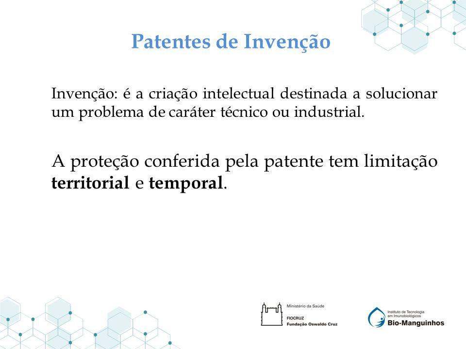 Patentes de Invenção Invenção: é a criação intelectual destinada a solucionar um problema de caráter técnico ou industrial.