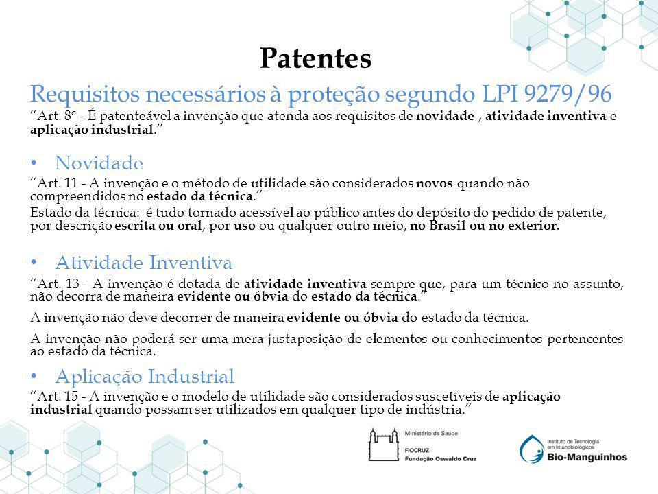 Patentes Requisitos necessários à proteção segundo LPI 9279/96