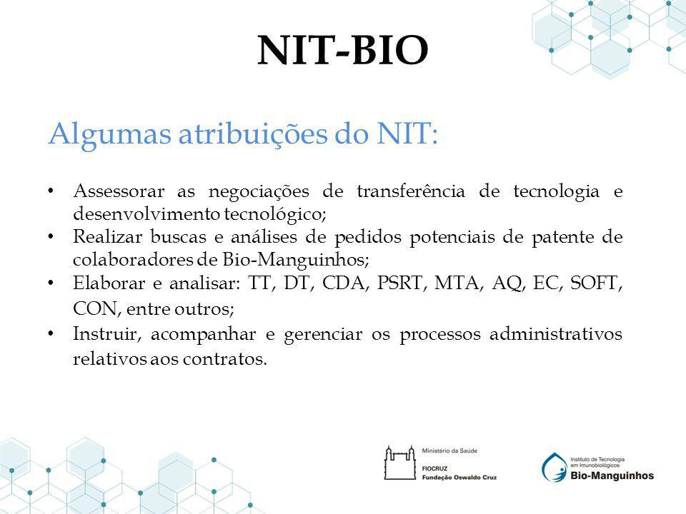 NIT-BIO Algumas atribuições do NIT: