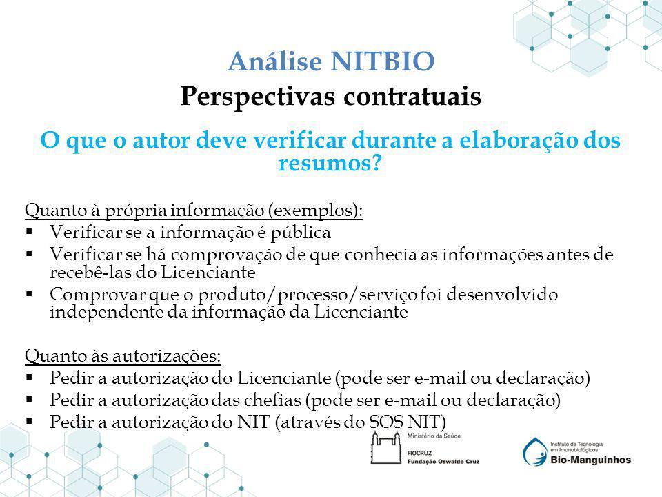 Análise NITBIO Perspectivas contratuais