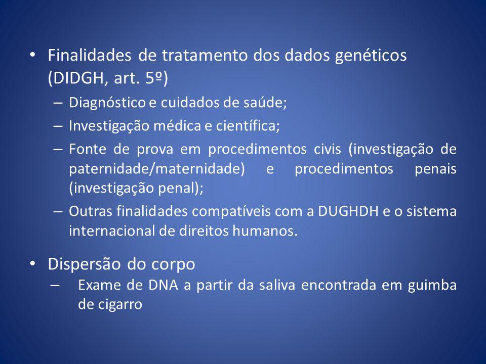 Finalidades de tratamento dos dados genéticos (DIDGH, art. 5º)