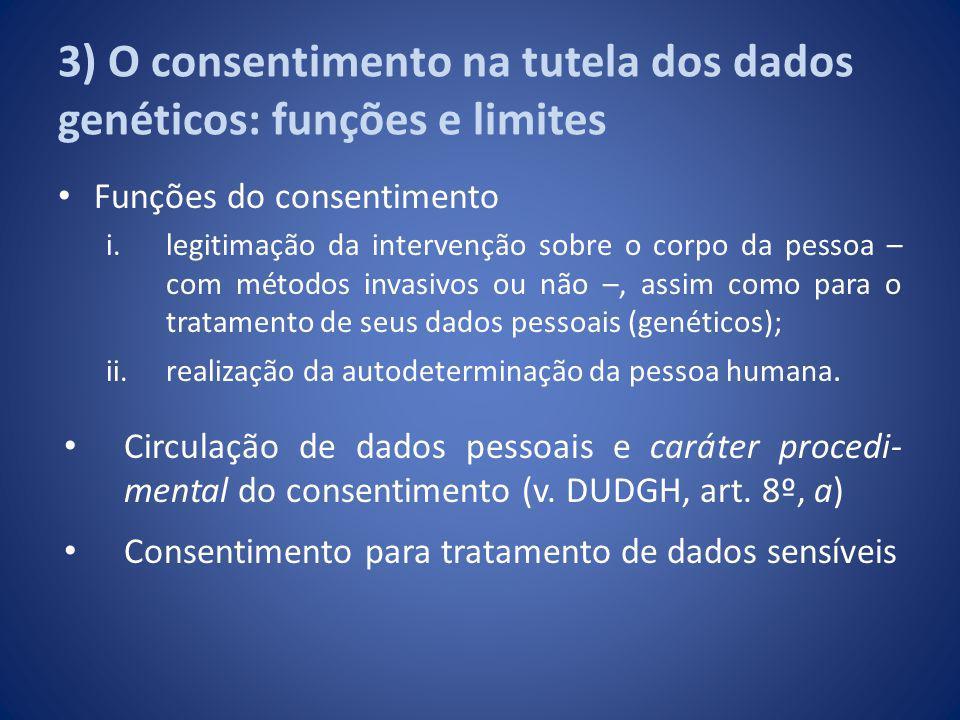 3) O consentimento na tutela dos dados genéticos: funções e limites