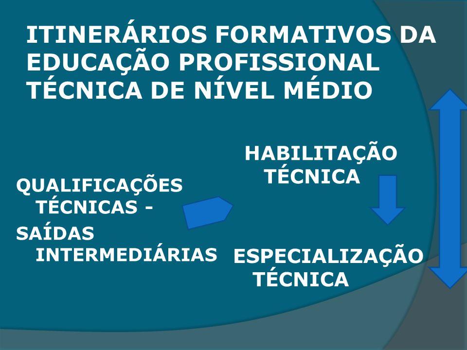 ITINERÁRIOS FORMATIVOS DA EDUCAÇÃO PROFISSIONAL TÉCNICA DE NÍVEL MÉDIO