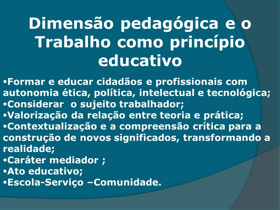 Dimensão pedagógica e o Trabalho como princípio educativo