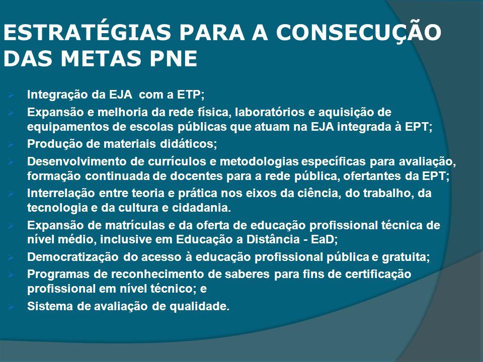 ESTRATÉGIAS PARA A CONSECUÇÃO DAS METAS PNE
