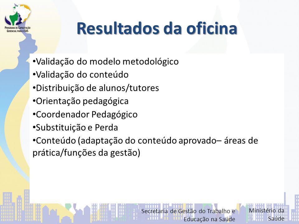 Resultados da oficina Validação do modelo metodológico