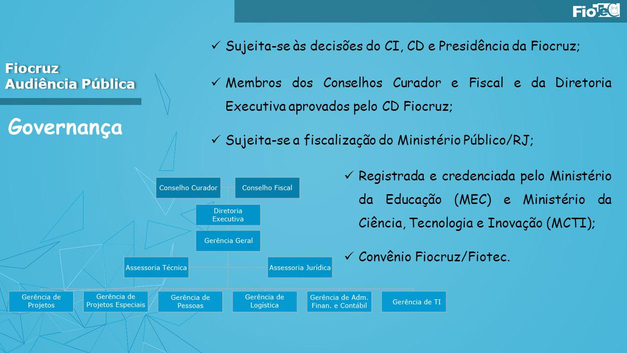 Governança Sujeita-se às decisões do CI, CD e Presidência da Fiocruz;