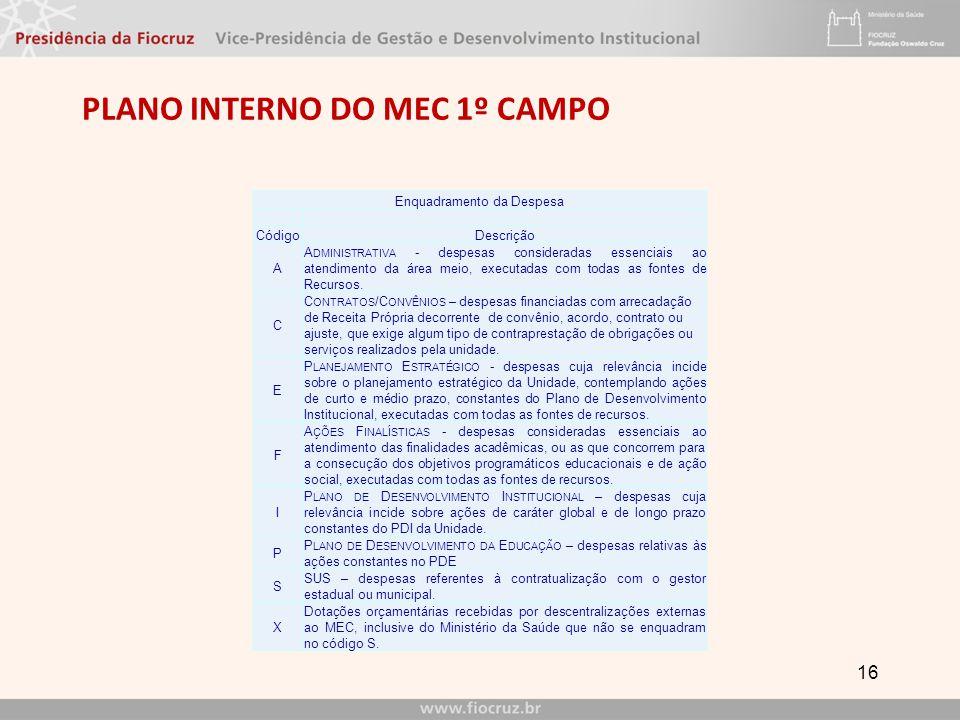 PLANO INTERNO do mec 1º CAMPO