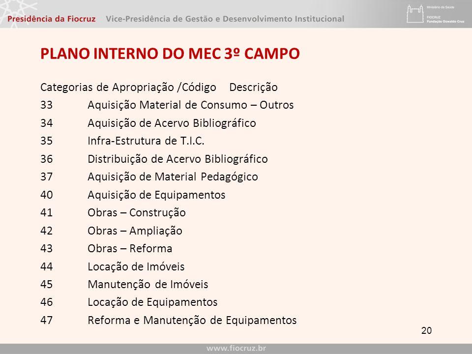 PLANO INTERNO do mec 3º CAMPO